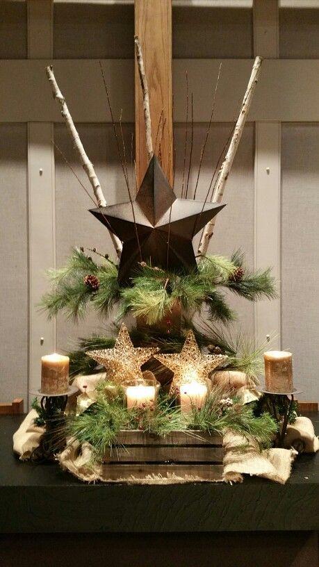 Christmas altar 2015, Redeemer UMC DeWitt, MI. #Christmas #altar #deco / Via: http://media-cache-ec0.pinimg.com/736x/03/95/05/039505018ab83245ad70abdc80ba3b6b.jpg