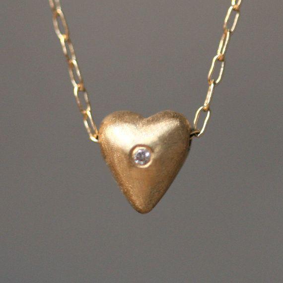 Tiny gezwollen hart ketting in 14K goud door MichelleChangJewelry