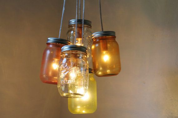 Carnival - Mason Jar Chandelier - 5 Pint Ball Jars - Brushed Nickel Ceiling Plate & Hardware for Direct Installation - BootsNGus Lamp Design