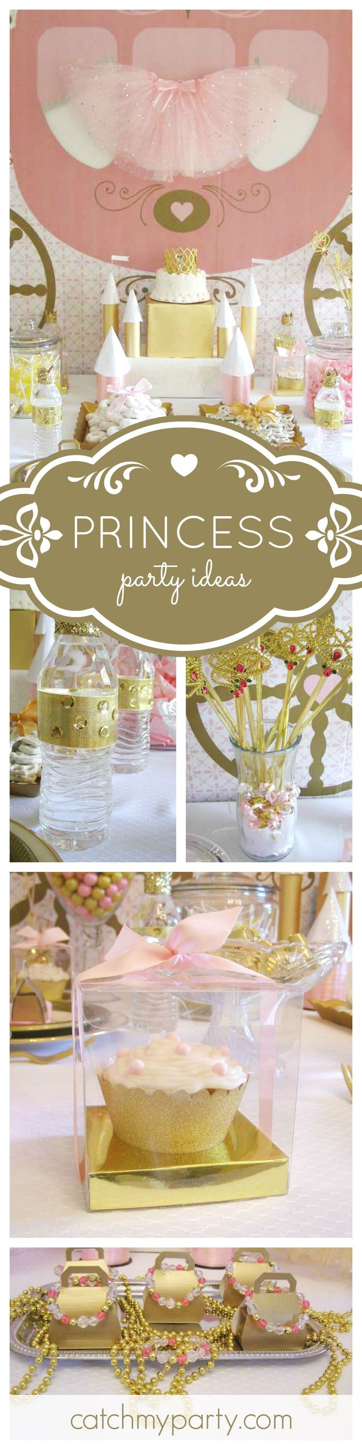 Such a pretty pink and gold Princess Birthday Party. The tutus decorating the tables give it that extra special touch! See more party ideas at CatchMyParty.com