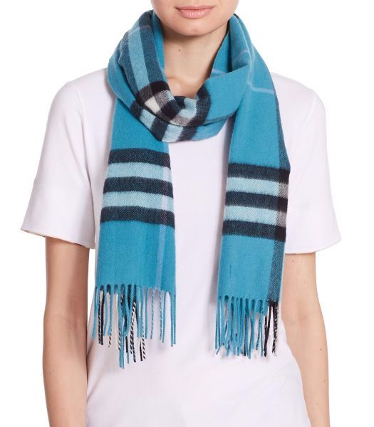 Burberry Giant Check Cashmere Scarf Dusty Teal            $75.00