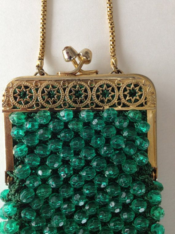 Vintage Purse Pouch Harrods London Italy Green Beaded