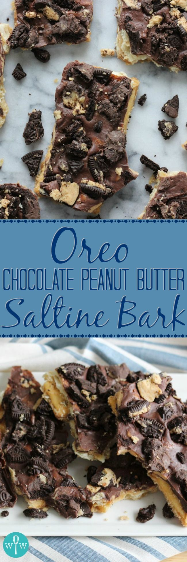 Oreo Chocolate Peanut Butter Saltine Bark - An over-the-top amazing snack recipe combining salty and sweet. Saltine crackers drenched in caramel, topped with melted chocolate peanut butter goodness, and sprinkled with Peanut Butter Oreo cookies.   www.worthwhisking.com
