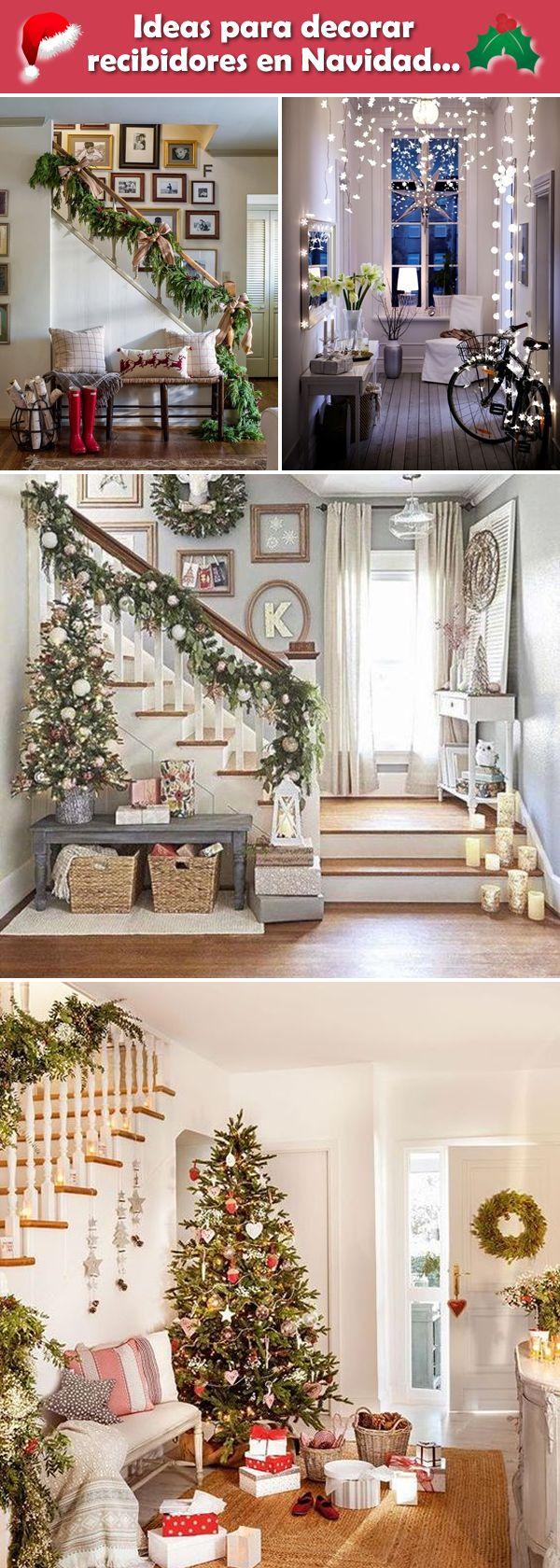 Recibidores navideños. Decoración de recibidores para Navidad. Decoración navideña en recibidores.