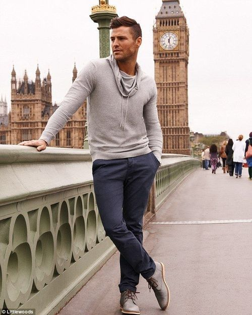 Shop this look for $49: http://lookastic.com/men/looks/grey-cowl-neck-sweater-and-navy-chinos-and-grey-leather-desert-boots/817 — Grey Cowl-neck Sweater — Navy Chinos — Grey Leather Desert Boots http://cooganlondon.com/