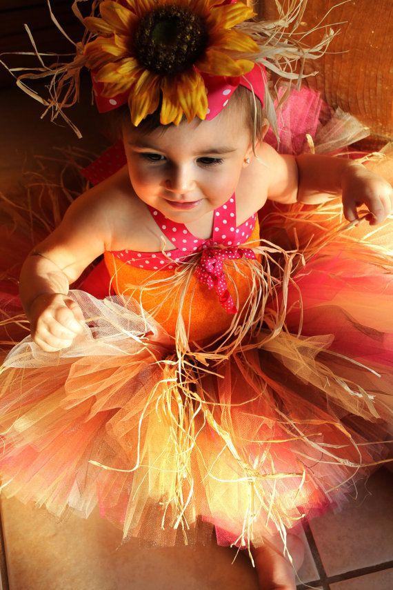 Sunflower Scarecrow Costume Tutu with Straw Hot by PoshPinksTutu, $79.95