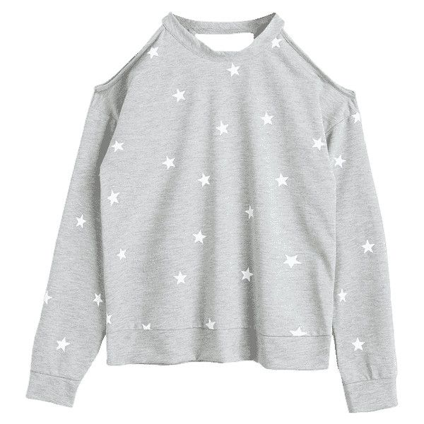 Star Cut Out Cold Shoulder Sweatshirt Gray S ($30) ❤ liked on Polyvore featuring tops, hoodies, sweatshirts, zaful, cutout tops, cut-out shoulder tops, cold shoulder sweatshirt, open shoulder tops and grey top