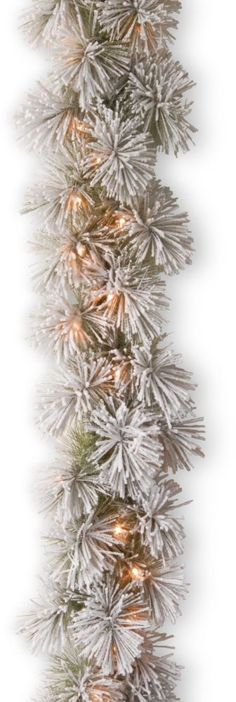 Christmas Snowy Bristle Pine Garland with 70 Battery-operated White LED Lights #ChristmasGarland #Wreaths #Snowy #Bristle #Pine #BatteryOperated #LEDLights #WhiteLights #Christmas #ChristmasDecor #Seasonal #HomeDecor #HolidayDecor #70Lights