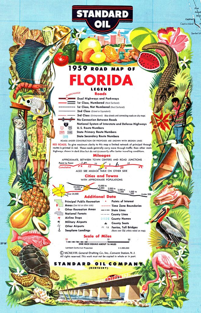 Standard Oil Road Map of Florida Cartouche ~ 1959