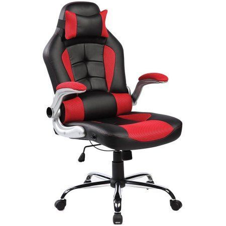 Merax Ergonomic High-Back Racing Style Office Chair for Reclining and Napping, Red