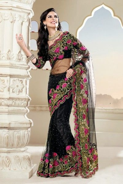#Black Net #Saree with Zari Work,Resham Work,Patch Work,Lace Work and Embroidery - Rs. 5,949.  #zohraa