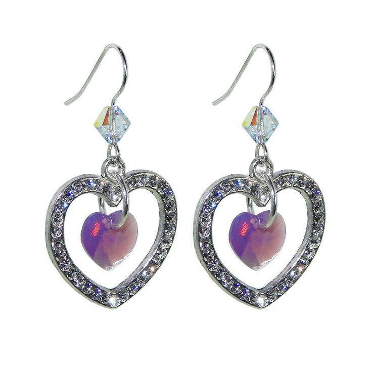 J & F Women's Earrings Heart Shaped With Swarovski Crystals mJIyA