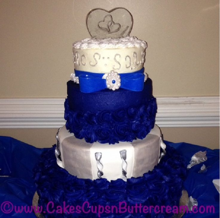 Royal Blue and Silver Wedding Cakes
