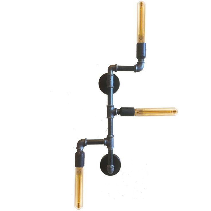 Φωτιστικό Industrial φτιαγμένο από υδραυλικούς σωλήνες σε σκούρο γκρι ματ χρώμα. Επιλέξτε χρώμα, διαστάσεις και στολίστε και εσείς τον χώρο σας.