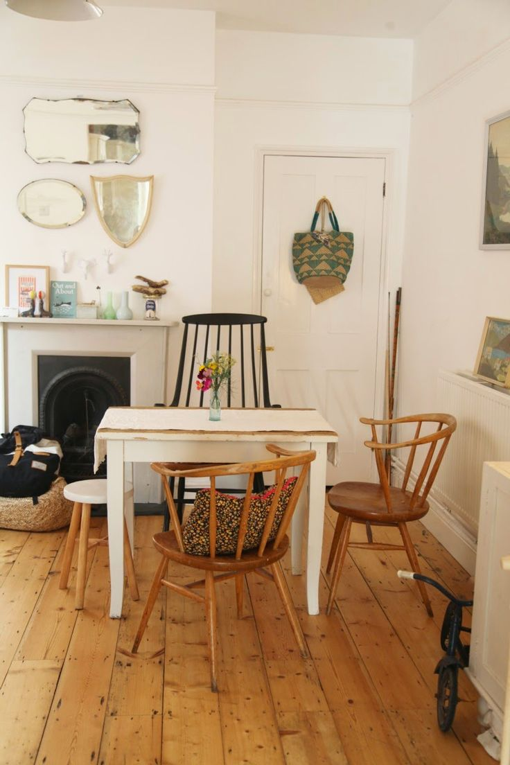junkaholic, dining table, wooden flooring, interior, home, fire place, vintage furniture, mirror collection