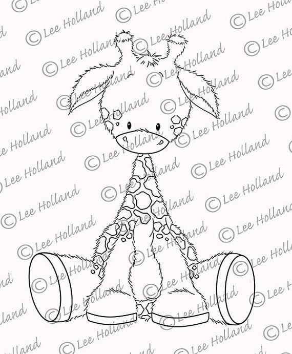 Baby Giraffe Digi stamp von LeeHIllustrations auf Etsy