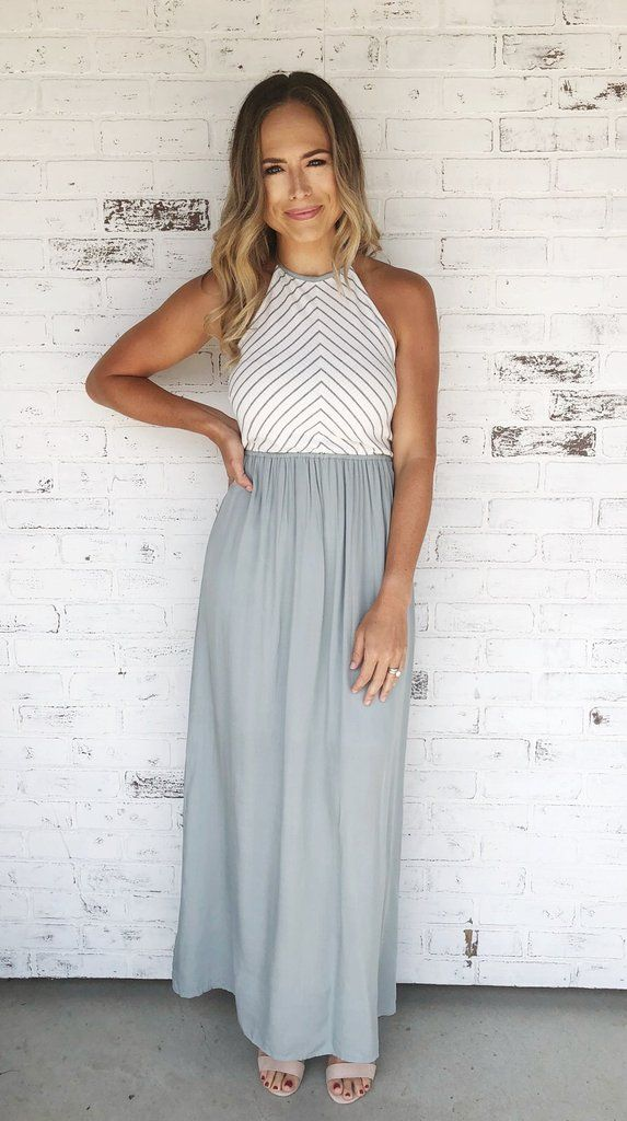 828f3e56783f Two-toned sage grey and white maxi dress with halter neck and empire waist.  Maxi dress. Dress with heels. Spring/Summer dress. Spring fashion. Spring  style.