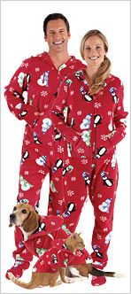 Matching Hoodie Footie Pajamas for adults and their pets because everyone in the family should look alike...even if they don't want to :P