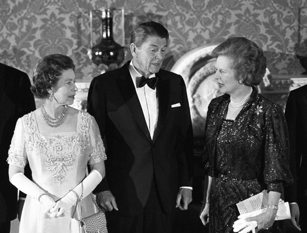 9/6/1984 Queen Elizabeth II, President Ronald Reagan and Prime Minister Margaret Thatcher at Buckingham Palace, London, England.