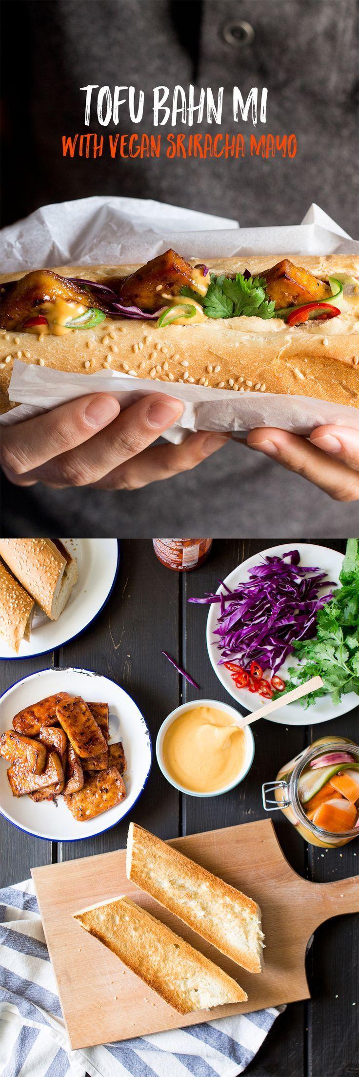#vegan bahn mi sandwich deep-filled with tasty tofu / fresh veg / herbs and pickles. Topped with vegan sriracha mayo #glutenfree