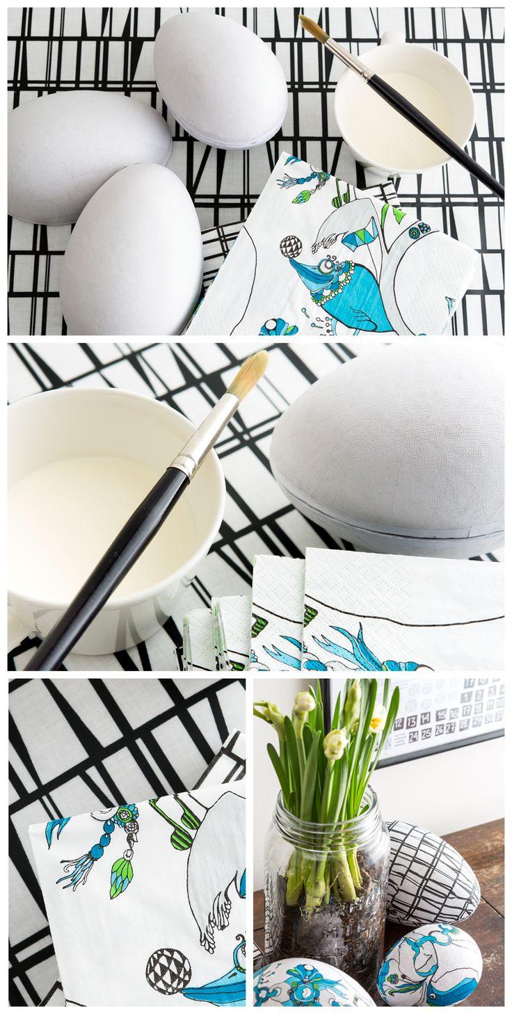 DIY Easter eggs with Finlayson napkins | Askartele Finlaysonin lautasliinoista kauniit sisustukseen sopivat pääsiäsmunat kevätkotia somistamaan