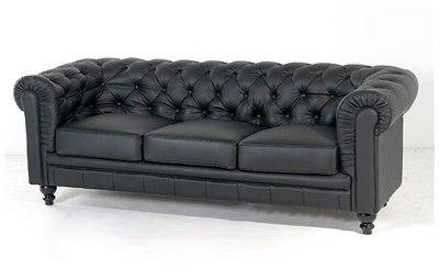 SOFÁ CHESTER NEGRO. Elegante sofá clásico o vintage de 3 plazas tapizado en piel negra