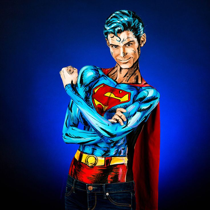 Time Lapse Video of Artist Kay Pike Painting a Superman Costume on Her Body at 1,000x Speed