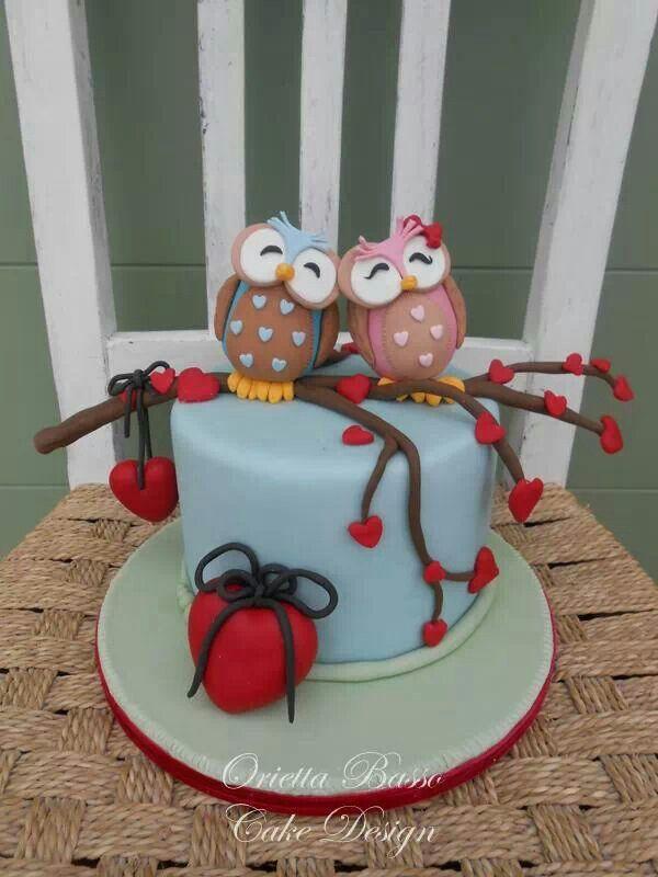 Valentine's Day fondant cake and Owls.