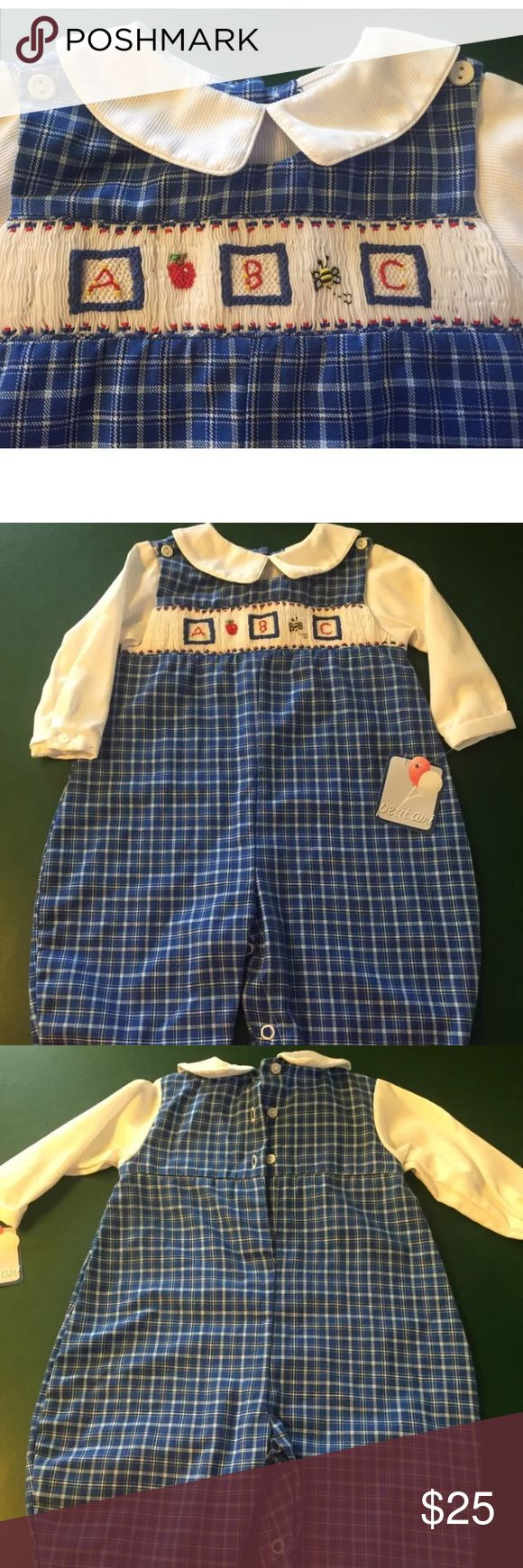 Petit ami boys longall size 6 months gingham New petite ami One Pieces Bodysuits