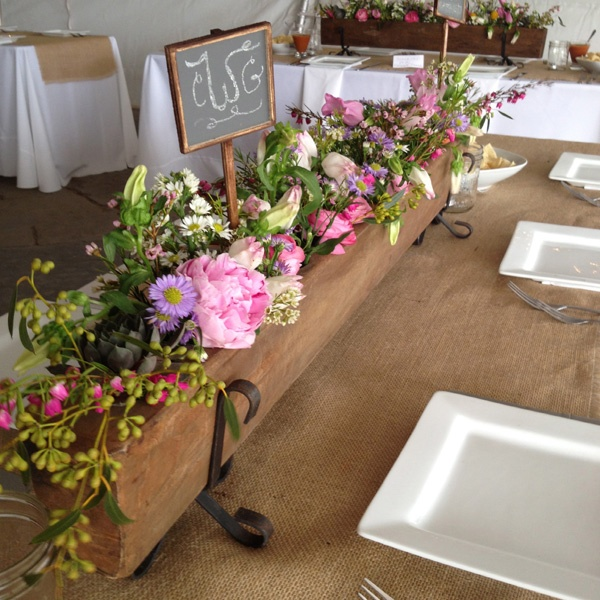 another stunning centerpiece, especially on rectangular table with a berlap runner!