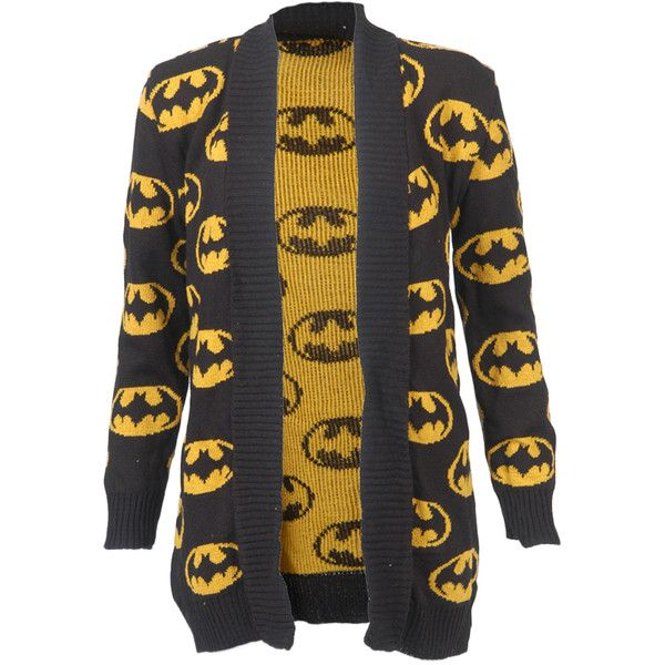 NEW WOMENS LADIES BOYFIREND WATERFALL CARDIGAN JUMPER BATMAN DESIGN BLACK YELLOW found on Polyvore
