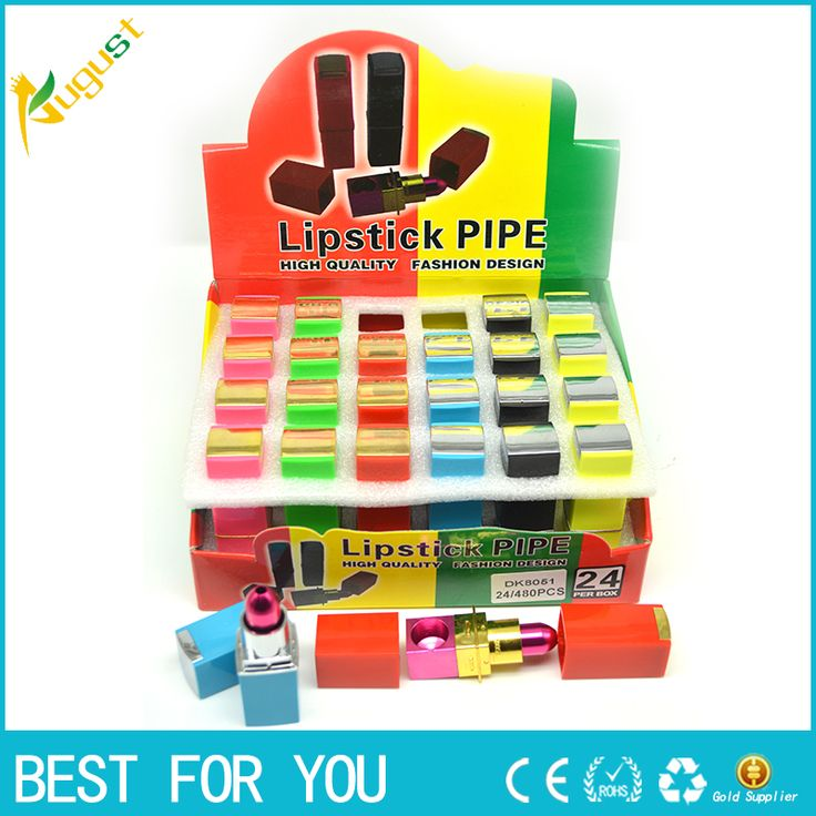96pcs/lot Multi-color Portable Smoking Lipstick Pipes Metal Tobacco pipe Magic Novelty Gift for Men/Women as Grinder accessary