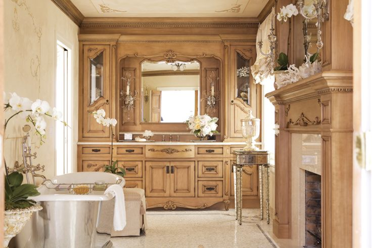 """Award-winning Master Bath for Her Features the Feminine Charm of Classic French Architecture. KLAFFS Kitchens Designs a Room that """"…reads like a history book, smells like lavender."""""""