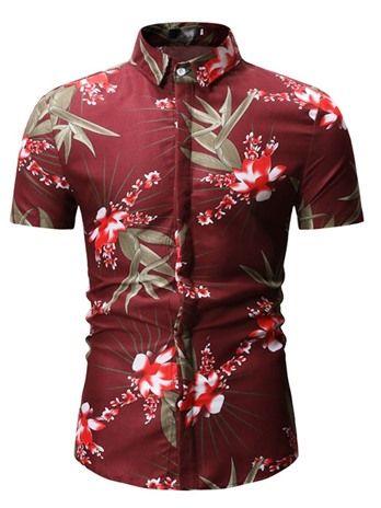 Floral Color Block Short Sleeve Herrenhemd   – D.O.C.C SQUAD Type Gear.