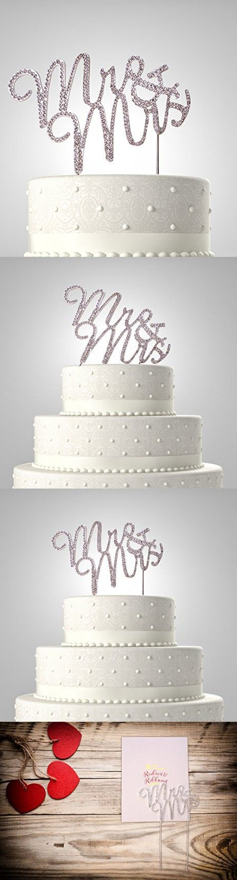 Rubies & Ribbons Mr & Mrs Rhinestone Crystal Wedding Cake Topper Party Decoration with Gift Box (Silver)