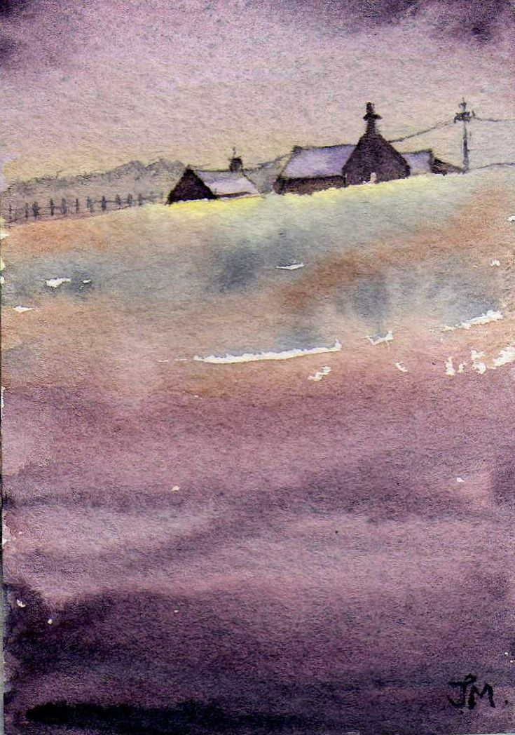 ARTFINDER: Roof Tops by JULIE MORRIS - Small watercolour using heather tones. Influenced by the local countyside.
