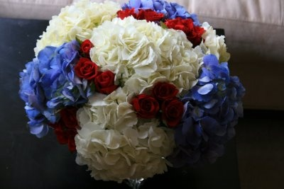 65 best images about 4th of july on pinterest floral for Red white blue flower arrangements