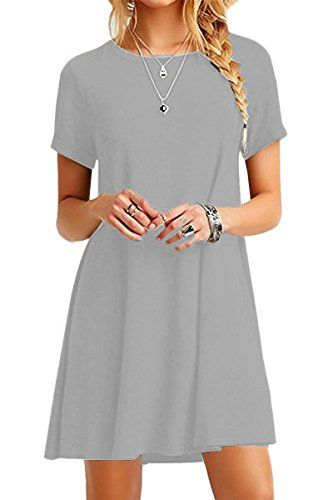 YMING Femme Robe Loose Manches Courtes Casual Tunique Style Basique T-Shirt  Tops Mini RobeGris ClairS FR 36 0201f6335eec