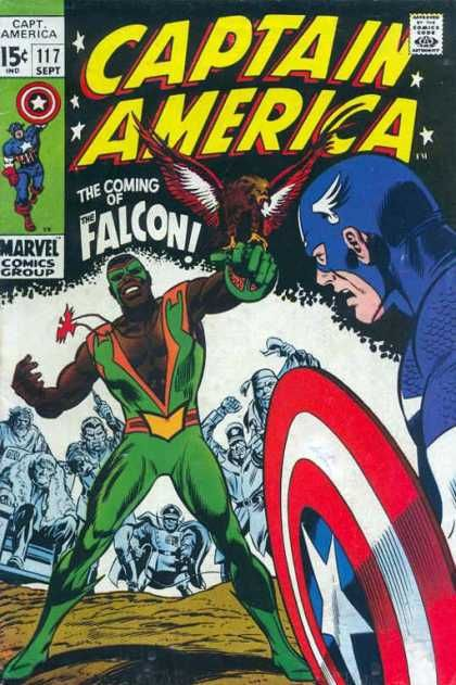 Captain America and the Falcon first meet (1969)
