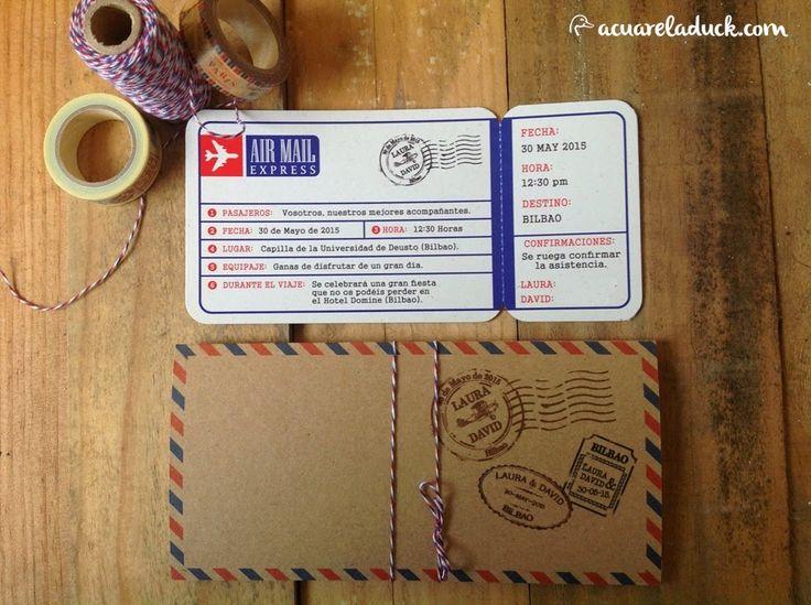 Invitaciones de Boda Billete viaje. Invitaciones viaje vintage. Invitaciones correo aéreo. Air Mail.