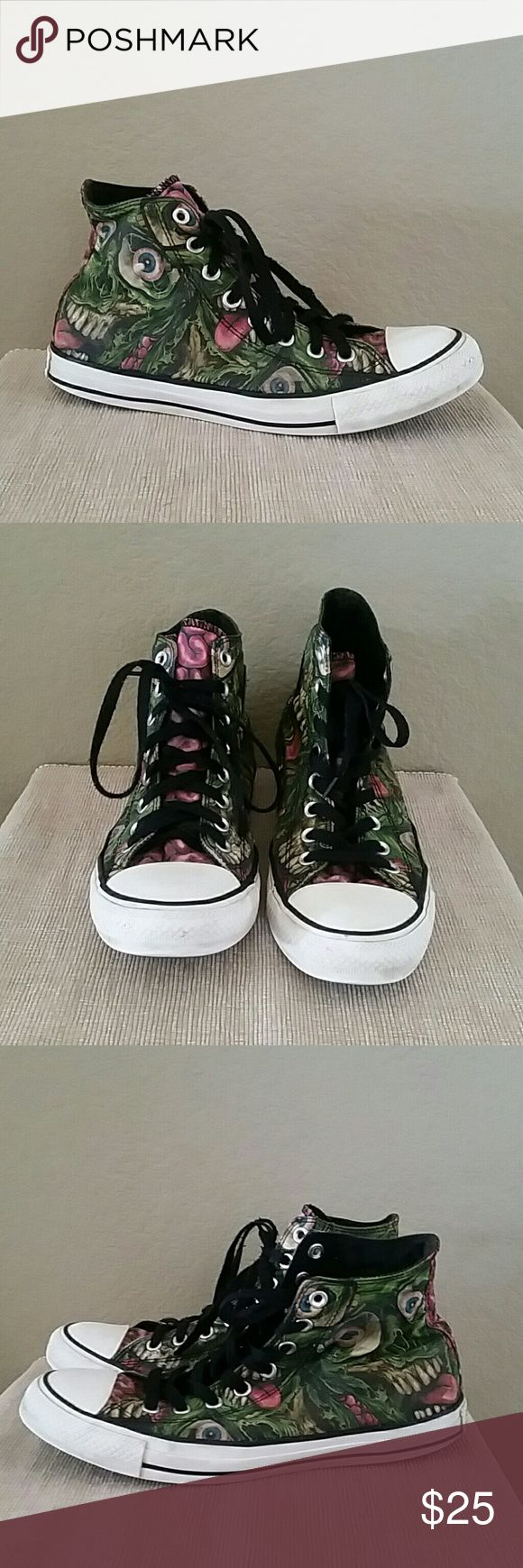 Zombie Converse hi top sneakers Zombie Converse Chuck Taylor all star sneakers, high top, pre-owned, size 10 women's, Converse Shoes Sneakers