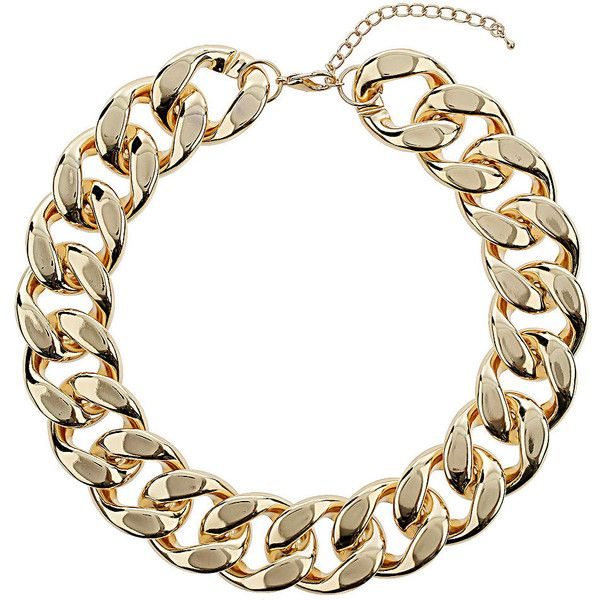 TOPSHOP Gold Chunky Chain Necklace ($29) ❤ liked on Polyvore featuring jewelry, necklaces, accessories, topshop, gold, gold necklace, chunky curb chain necklace, curb link chain necklace and chunky jewelry