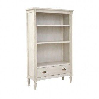 French Style Bookshelf - White Distressed Finish