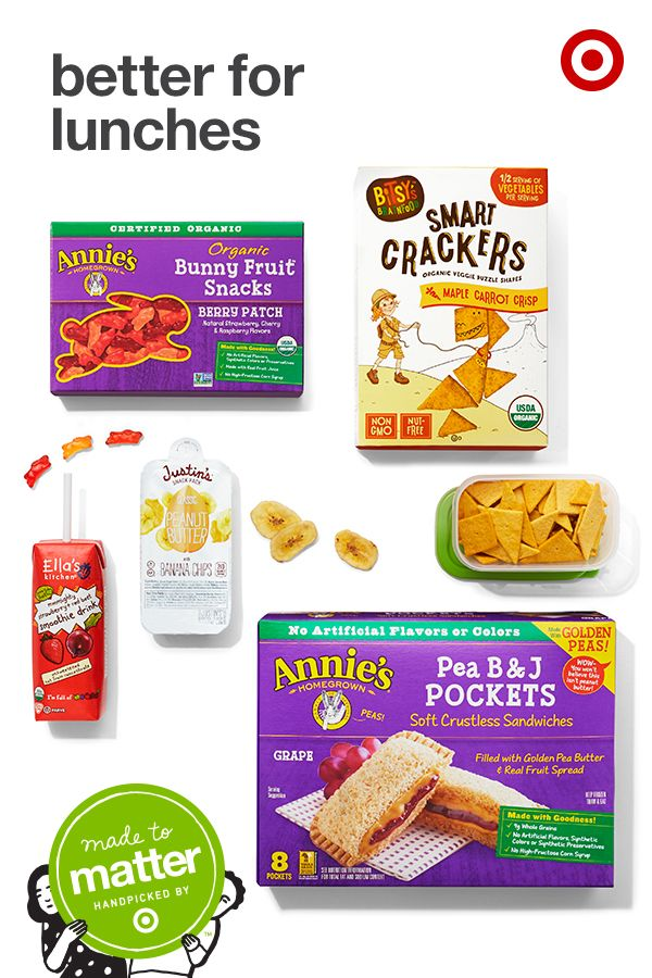 From reduced sugar to natural ingredients, feel better about what's in your kids' lunches with Made to Matter, handpicked by Target. Annie's Pea B&J pockets are made with pea butter, making them a classroom-friendly alternative to classic PB&J. Bitsy's Smart Crackers, also nut-free, have half a serving of veggies per serving. Add a juice box from Ella's Kitchen, made with real fruit and veggies and no added sugar. Another tasty, gluten-free option? Justin's Peanut Butter and Banana snack…