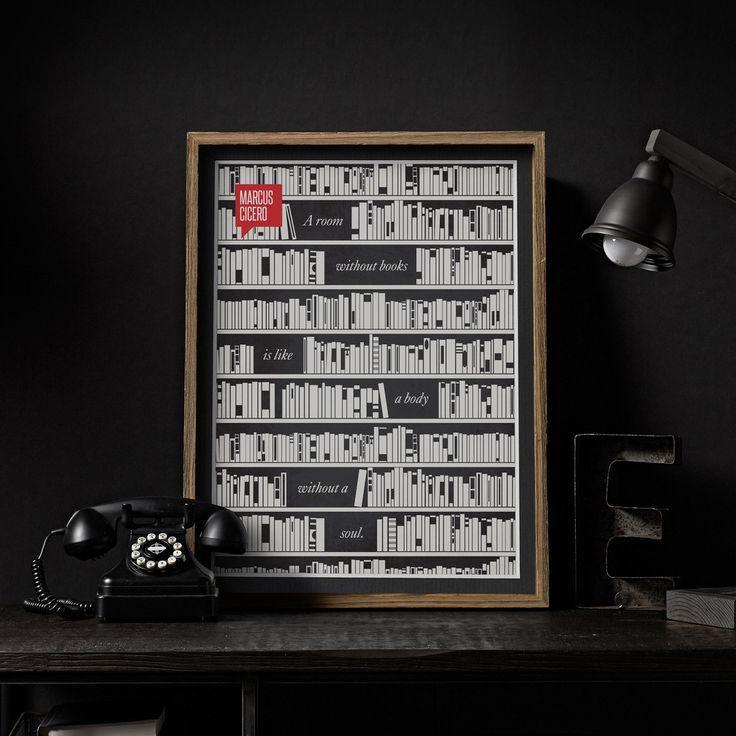 'A room without books is like a body without a soul.'  «Комната без книг подобна телу без души.» - Marcus Tullius Cicero / Марк Туллий Цицерон     » Постер сначала был нарисован ручкой и чернилами, а затем оцифрован. » Постер отпечатан на превосходной матовой архивной бумаге (вес 240г.)