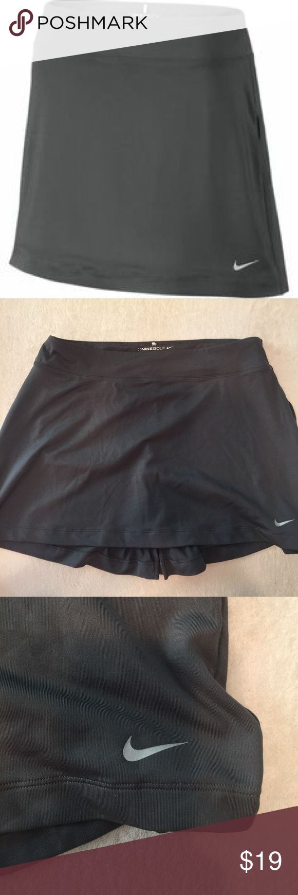 Nike Grey Knit Skirt Skort - Detachable Shorts The Women's Sport Knit Skort from Nike is designed with a modern-rise stretch skirt with a wide waistband for style and comfort. Removable compression shorts offer a snug, locked-in feel. The short also has a lined inseam gusset for support and natural range of motion. Equipped with Dri-Fit technology, it wicks away moisture for rapid evaporation keeping you cool.  Flat seams to help minimize irritation caused by chafing. Back zip pocket for…