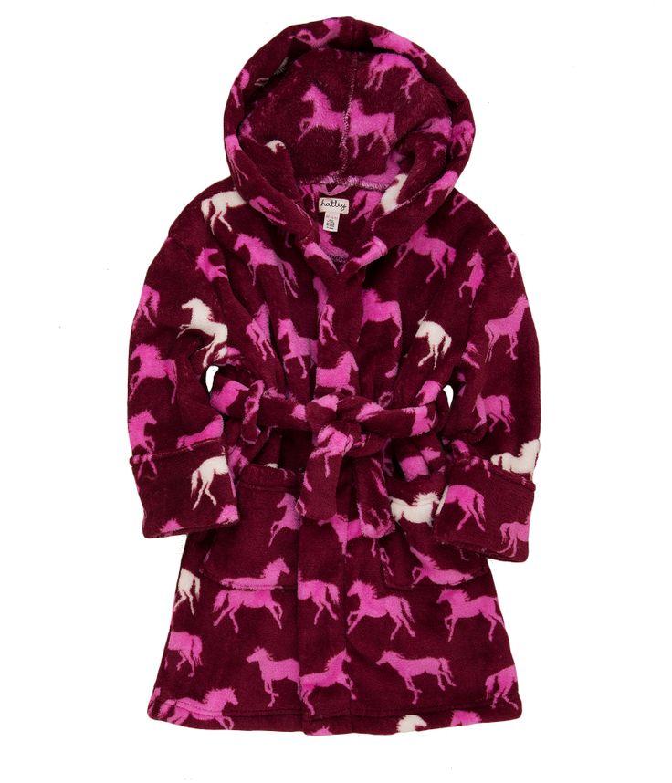 Hatley horses on burgundy background silky soft robe sizes S (2-4)  M (6-7)   L (8-10) http://www.planetpyjama.com.au/dressing-gowns/