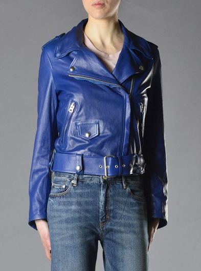 Giubbotto in pelle blu http://www.martyshop.it/it/201167-Donna/2012102-Giubbotti/2014365-Giubbotto-di-pelle-Acne.aspx