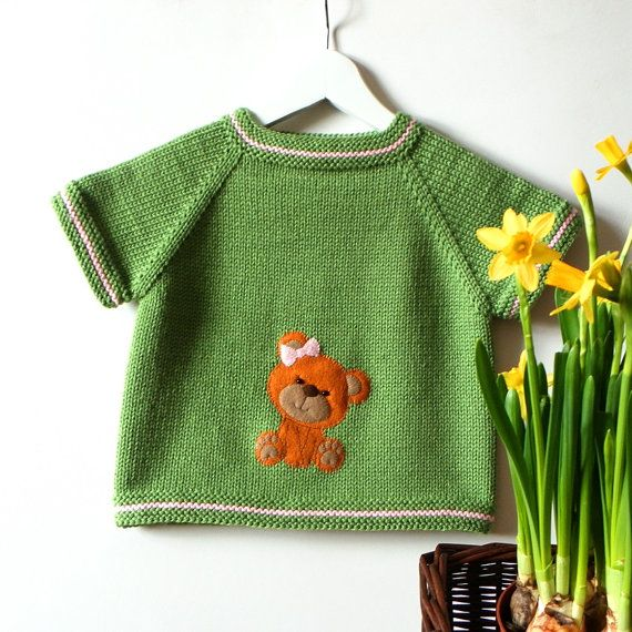 Green baby vest with bear design knitted kids vest with by Tuttolv