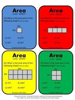 Area of Rectangles Activity Task Cards (imperial): provides 60 challenging questions for students to practice and revise finding the area of rectangles and squares - 1 Area question per card - 4 per A4 sheet - Suitable to print and laminate in color  (We also have a black and white version to download)  (We also have two metric versions to download)